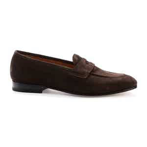 Dark Brown Suede Lawrence Penny Loafers