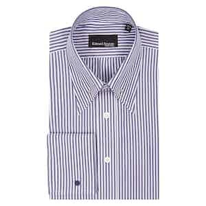 Navy Cotton Bengal Striped Pin Collar Shirt