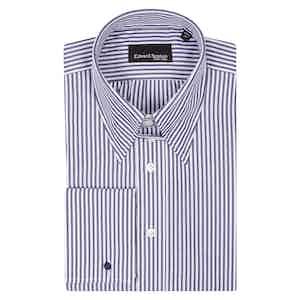 Navy Cotton Bengal Striped Tab Collar Shirt
