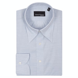 Soft Blue Melange Cotton Hidden Button Down Shirt