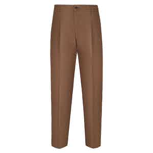 Tobacco Brown Linen Leisure Trousers
