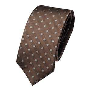 Brown Silk Polka Dot Classic Tie