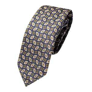 Navy Blue Silk Floral Print Classic Tie
