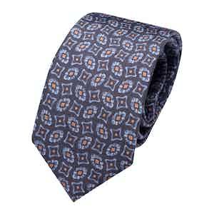 Navy Blue Geometric Print Classic Tie