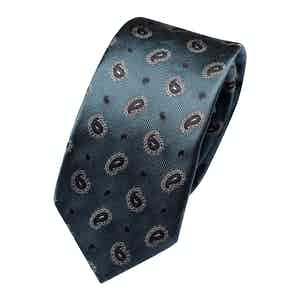 Metallic Green Silk Paisley Classic Tie