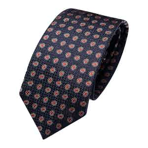 Dark Blue and Red Silk Paisley Classic Tie