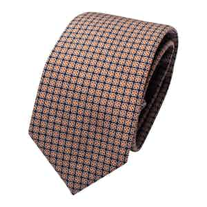 Dark Blue and Orange Wool Print Classic Tie