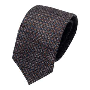 Royal Blue and Red Wool Print Classic Tie