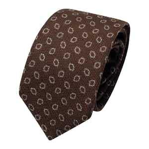 Light Brown Wool Geometric Printe Classic Tie