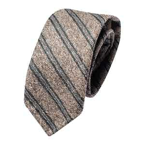 Beige and Green Wool Striped Classic Tie