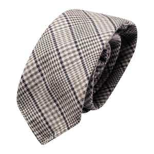 Grey & Blue Prince de Galles Wool Classic Tie