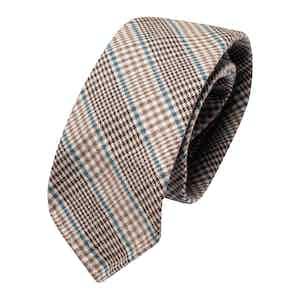Brown & Azure Prince de Galles Wool Classic Tie