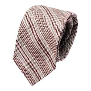 Burgundy & Grey Prince de Galles Wool Classic Tie