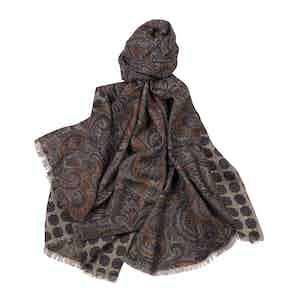 Light Brown and Red Wool and Silk Paisley Merino Wool Scarf