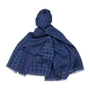 Blue Double-Faced Merino Wool Scarf