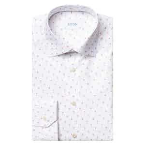 White Cotton Poplin Orange Cocktail Printed Slim Fit Shirt