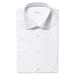 White Cotton Poplin Orange Cocktail Printed Short-Sleeved Contemporary Fit Shirt