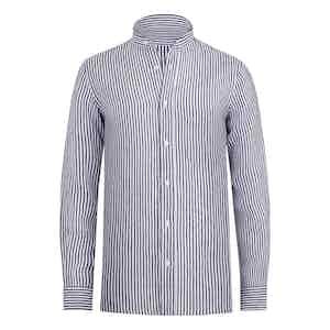 Navy Striped Linen Band Collar Shirt