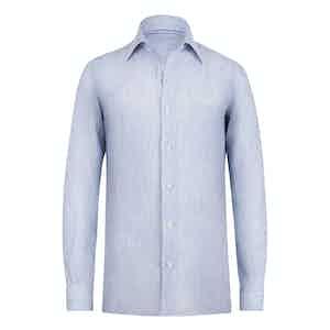 Celeste Blue Striped Linen Shirt