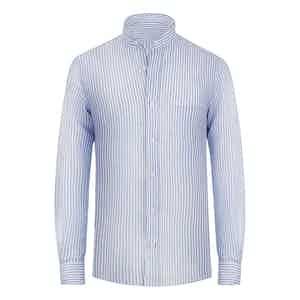 Celeste Blue Striped Linen Band Collar Shirt