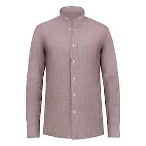 Bordeaux Check Linen Band Collar Shirt