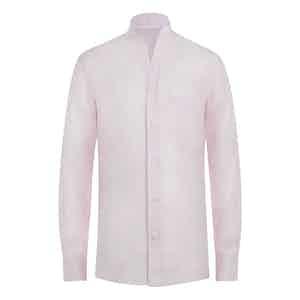 Rose Pink Striped Linen Band Collar Shirt