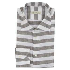 Light Brown Linen Horizontal Striped Long-Sleeved Polo Shirt