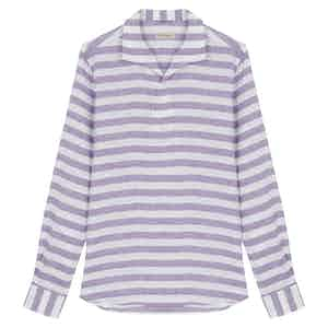 Violet Linen Horizontal Striped Miami Collar Long-Sleeved Polo Shirt