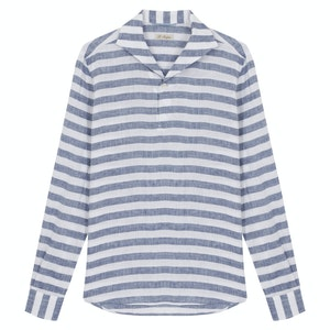 Navy and White Linen Horizontal Striped Elvis Long-Sleeved Polo Shirt