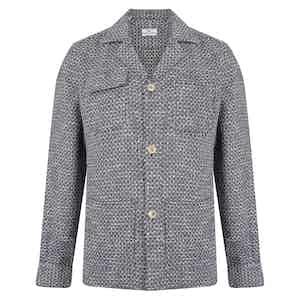 Blue and White Cotton 4-Pocket Overshirt