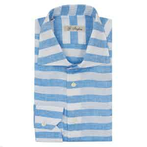 Turquoise and White Linen Wide Horizontal Striped Classic Collar Shirt