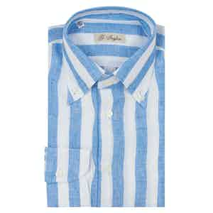 Turquoise and White Linen Wide Striped Classic Shirt