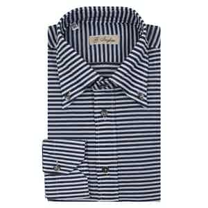 Navy and White Cotton Horizontal Striped Piquet Long-Sleeved Shirt