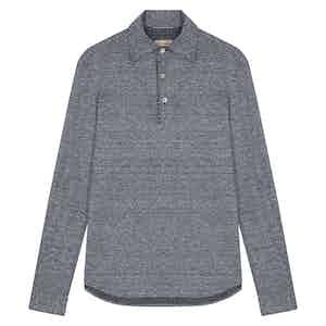 Blue Linen and Cotton Piquet Long-Sleeved Polo Mastroianni Polo Shirt