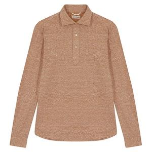 Orange Linen and Cotton Heavy Piquet JFK Long-Sleeved Polo Shirt