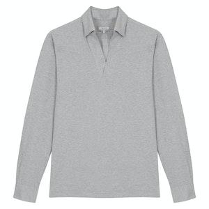 Light Grey Cotton long-Sleeved Leisure Polo Shirt