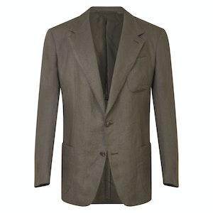 Olive Linen Single-Breasted Jacket