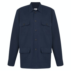 Navy Water Repellent Cotton Blend Shirt Jacket