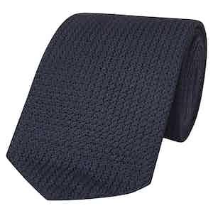 Navy Silk Grenadine Tie