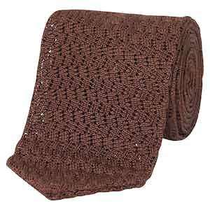 Rust Silk Pointed Knit Tie