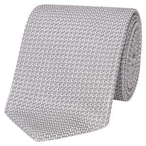 Grey Silk Grenadine Tie