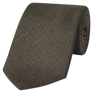 Khaki Tussah Silk Spot Tie