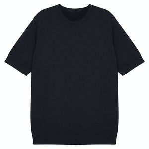 Navy Knitted Supima Cotton T-Shirt