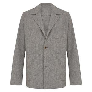 Heather Grey Wool Herringbone Lazyman Jacket