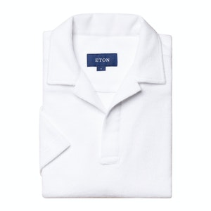 White Cotton Terry Resort Short-Sleeved Polo Shirt