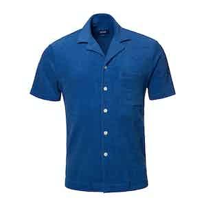 Blue Cotton Terry Resort Short-Sleeved Polo Shirt