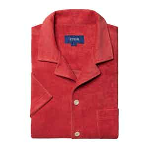 Red Cotton Terry Resort Short-Sleeved Polo Shirt