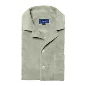 Green Cotton Terry Resort Short-Sleeved Polo Shirt