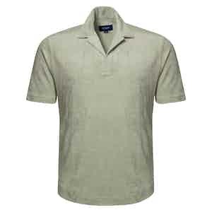 Green Popover Terry Cloth Shirt