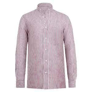 White and Bordeaux Linen Striped Pocket Guru Shirt